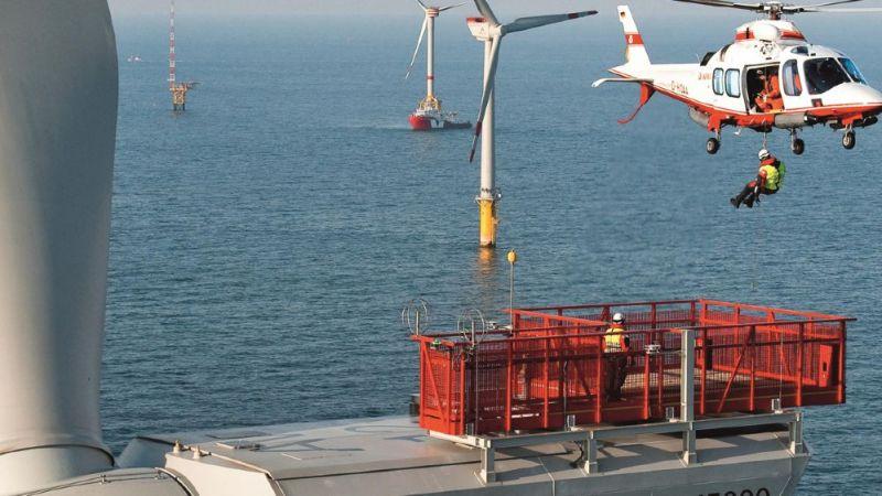 Wartungsarbeiten am Windpark Alpha Ventus