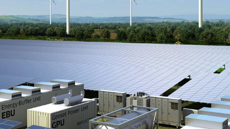 Das Hybridkraftwerk kombiniert Photovoltaik, Wind und Dieselgenerator.