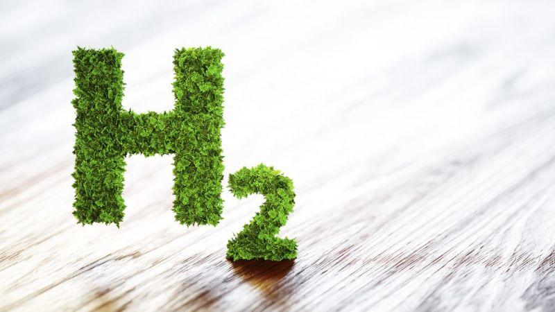 Wasserstoff Element Symbol 3D aus Blättern