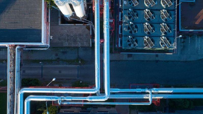 Das Symbolfoto zeigt die Luftaufnahme eines Heizwerks.