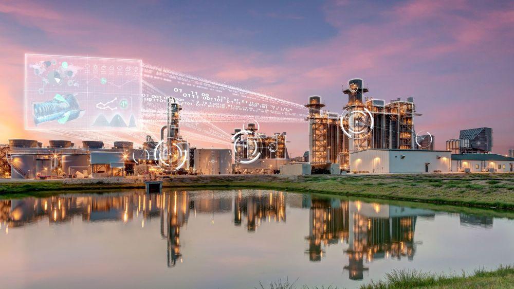 Das Foto zeigt ein thermisches Kraftwerke, welches heute Strom produziert, wenn Sonne und Wind nicht genug Energie liefern.