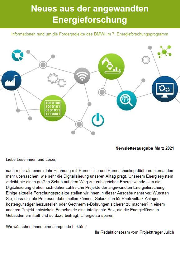 Screenshot der zweiten Ausgabe (März 2021) des Newsletters