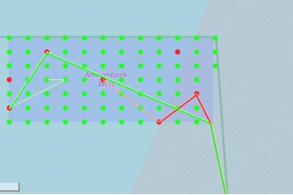 Beispiel einer Visualisierung der Windturbinen und Schiffsbewegungen in einem Windpark