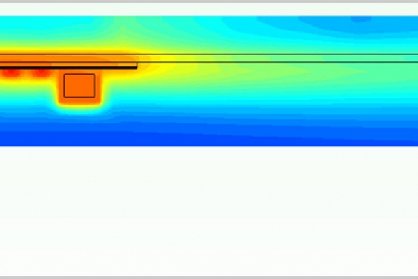 Die Grafik zeigt eine thermische Simulation einer Leistungselektronik auf der Rückseite eines Photovoltaikmoduls