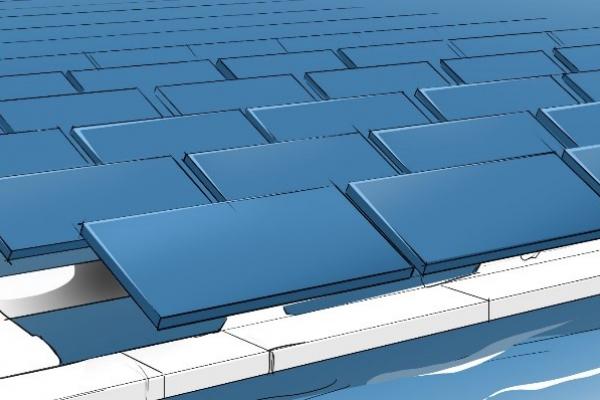 Das Symbolbild zeigt als Beispiel ein mögliches Systemdesign für schwimmende Solaranlagen.